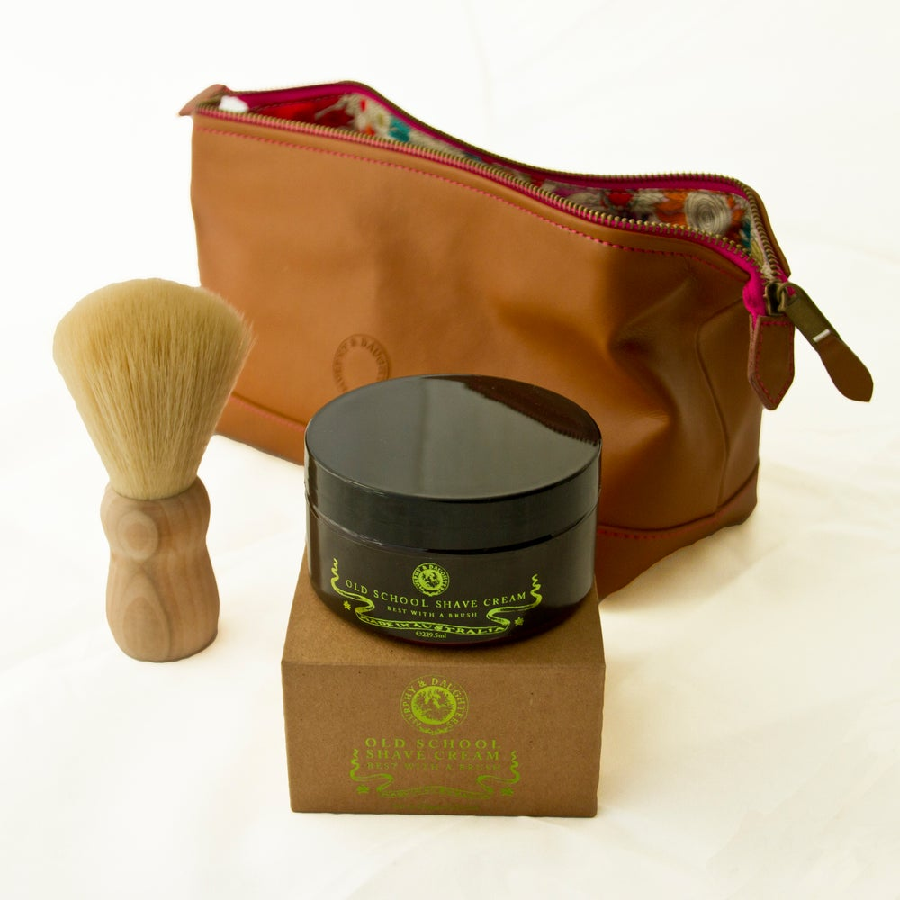 Image of Shave Kit in a leather cosmetics bag