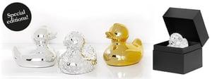 Image of Swarovski Gold & Silver Diamond Duck.