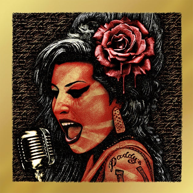 Image of AMY WINEHOUSE - TEST PROOF on metallic gold
