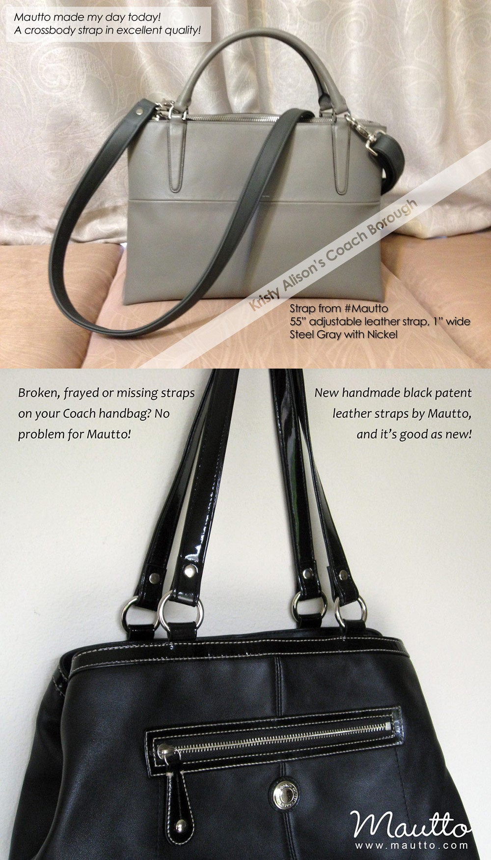 Image Of Custom Replacement Straps Handles For Coach Handbags Purses