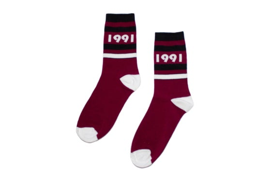 Image of Originator Sock (Brgndy/Wht)