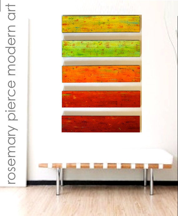 Image of 'SOLIDARITY IN CITRUS' | Painted Wood Wall Art Panels | Modern Painting | Wood Wall Decor
