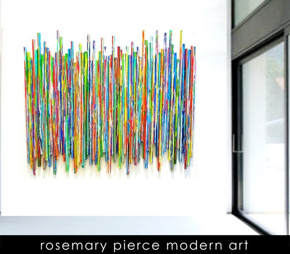 Image of 'LIFE EXPERIENCECS NO22'   Original Mixed Media Abstract   Modern Painted Wood Stick Wall Sculpture