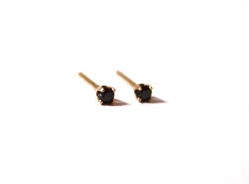Tiny Black Diamond Stud Earrings 14k Yellow Gold Armour Jewelry