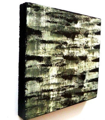 Image of 'POETIC 20 IN BLACK, WHITE, SILVER & WOOD' | Painted Wood Blocks Art | Black and White Wall Decor