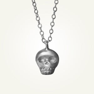 Image of Mini Skully Necklace, Brushed Sterling Silver