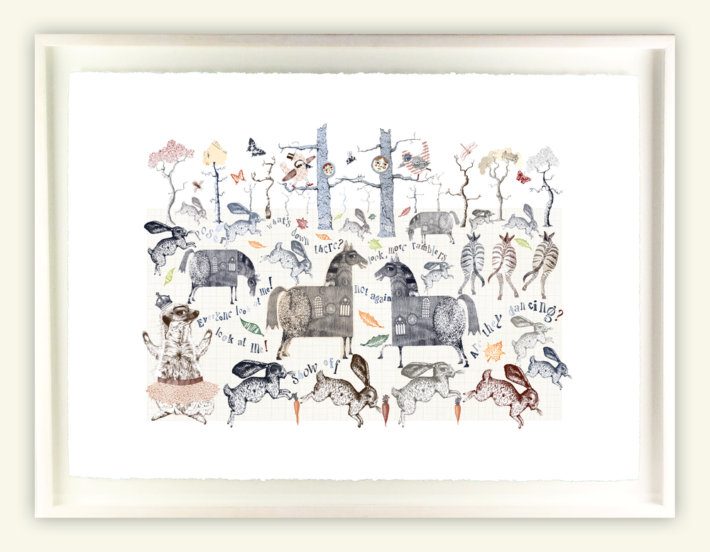 "Image of Framed Giclee Print - ""A Walk in the Park"" Part One"
