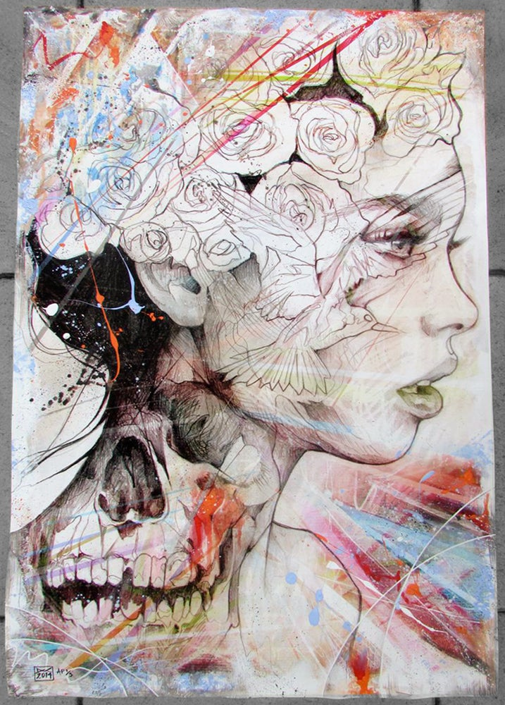 "Image of ""Opposites Attract"" Hand Embellished Limited Edition Print SOLD OUT"