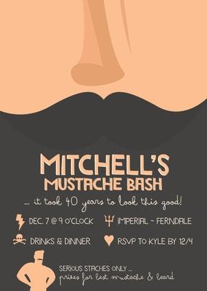 Image of Movember Mustache Party Invitation