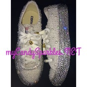 Image of Low Top White Pearl and Sparkle Chucks