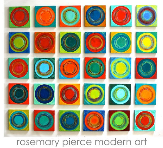 Image of 'DANCING CIRCLES 30' | Painted Wood Wall Sculpture | Geometric Wall Art | Colorful Wall Decor