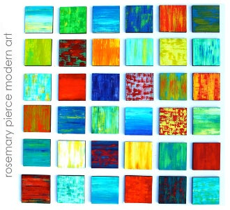 Image of 'COLOR BLEND BLOCKS NO6' | Brightly Painted Wood Blocks | 3-D Wall Art