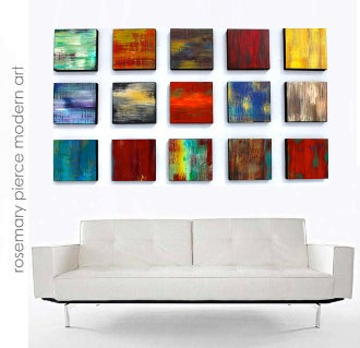 Image of 'COLOR BLEND BLOCKS 15' | Original Custom Art | Abstract Painted Wood Block Wall Sculpture