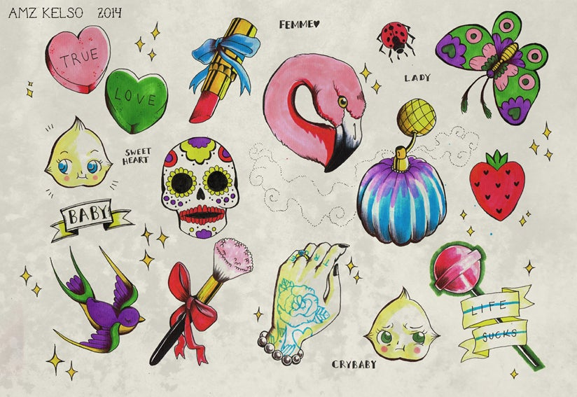 Image of 'Be My Baby' Tattoo Flash Sheet