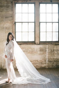 Image of Swan Queen lace robe - bridal long dressing gown in Ivory
