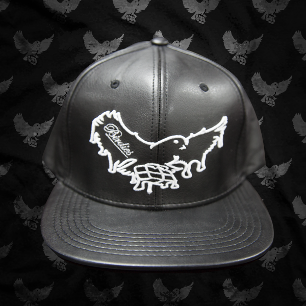 Image of Black/White Leather Dripping Snapback