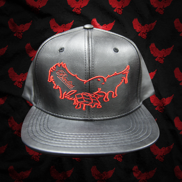 Image of Black/Red Leather Dripping Snapback