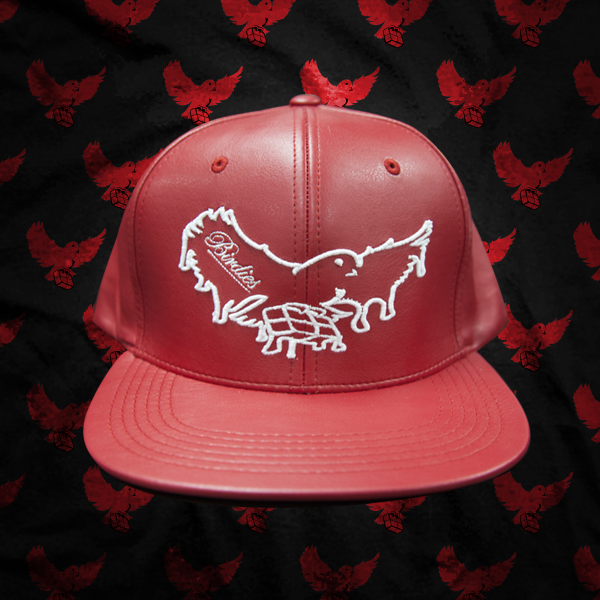 Image of Red/White Leather Dripping Snapback