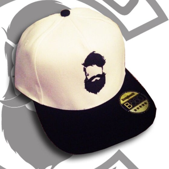 Image of Beard and Ink Unisex White and Black Snapback Cap