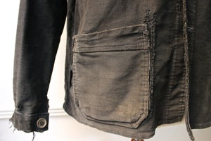 Image of 1930'S FRENCH BLACK MOLESKIN WORK JACKET FADED & faded