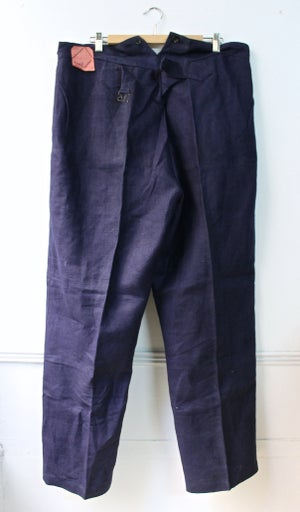 Image of 1940'S FRENCH INDIGO LINEN PANTS DEADSTOCK