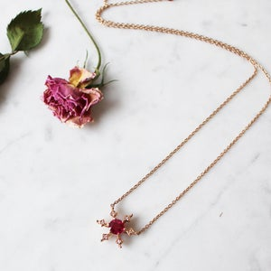 Image of Ruby Snowflake Necklace