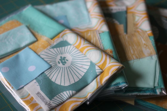 Image of Scrap Bag - mustard & aqua