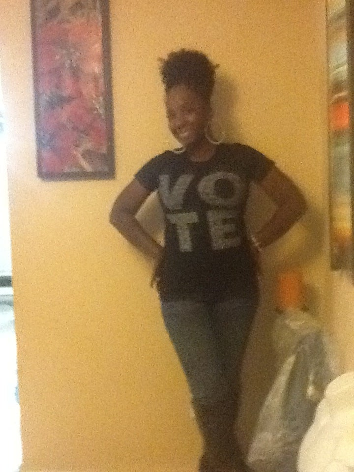 Image of VOTE WOMEN'S TSHIRT BLACK W/WHITE LETTERS