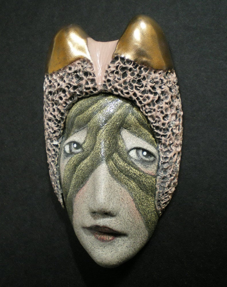 Image of The Jester's Significant Other - Stoneware Mask Sculpture, Ceramic Face Pendant, Original Mask Art