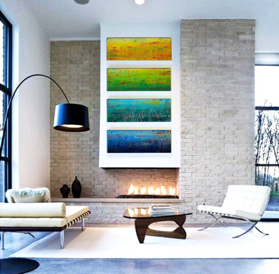 Image of 'SOLIDARITY' IN YELLOW, GREEN, TEAL, BLUE   LARGE Original Abstract Painted Wood Wall Panels