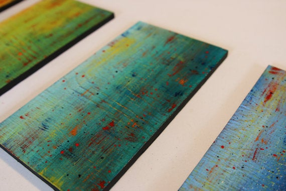 Image of 'SOLIDARITY' IN YELLOW, GREEN, TEAL, BLUE | LARGE Original Abstract Painted Wood Wall Panels