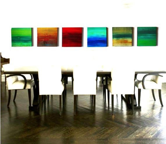 Image of 'OCEANS & SUNSETS' | Abstract Original Painting | Paintings on Wood | Wood Wall Decor