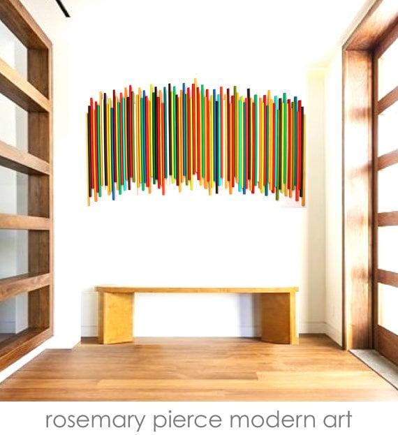 Large Wood Stick Wall Sculpture | Natural Wood | Modern Art | Original Wall  Art | Art Installation / Rosemary Pierce Modern Art