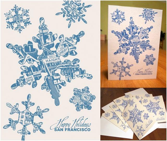Image of Holiday San Francisco Snowflake Card Pack - 8 Cards 8 Envelopes