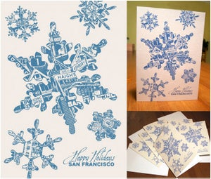 Image of Holiday San Francisco Snowflake Card Pack - 8 Cards 8 Envelopes