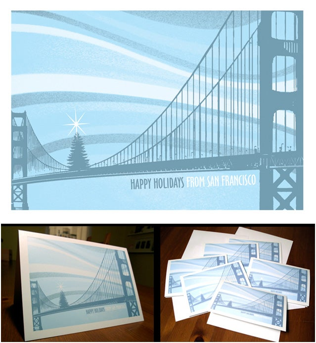 Image of Holiday San Francisco Bridge Tree Card Pack - 8 Cards 8 Envelopes