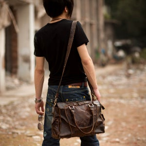 Image of Vintage Handmade Antique Cow Leather Handbag / Purse / Shoulder Bag / Messenger Bag - Unisex (m11-3)