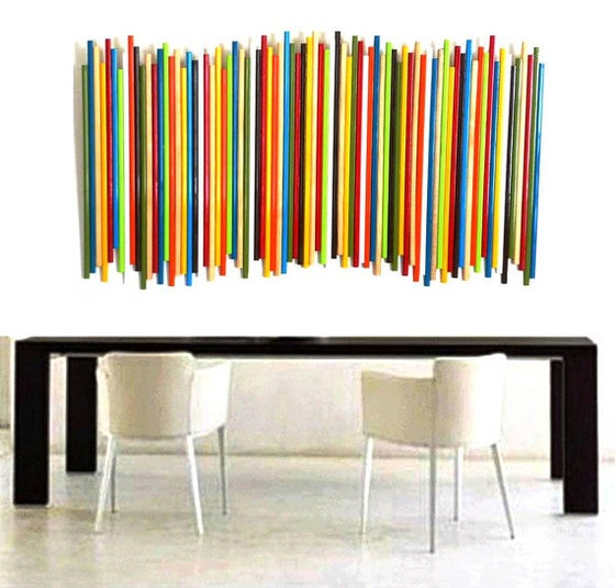 Image of 'STICKS IN MULTICOLOR' | Wood Wall Art | Original Art | Lobby Art | Custom Artwork