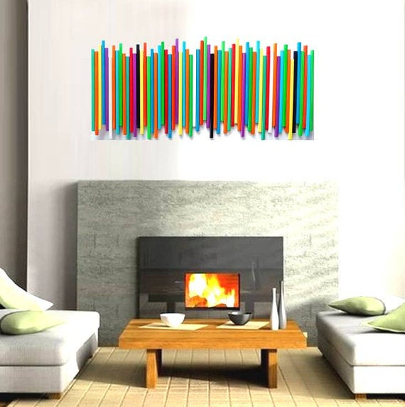 Modern Wood Wall Art | Wood Wall Decor | Custom Painted Stick Wall ...