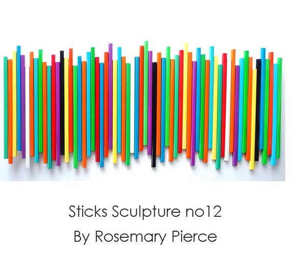 Image of 'STICKS IN MULTICOLOR, NO12' | Modern Wood Wall Art | Wood Wall Decor | Large Wall Art