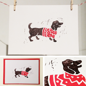 Image of 5 x Sausage Dog Christmas Cards