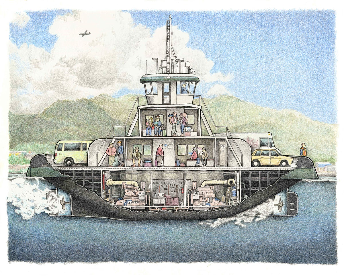 """Image of Ferry on Tongass Narrows 13"""" x 16"""""""