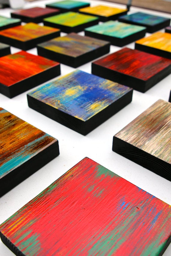 Image of 'CHUNKY COLOR BLEND BLOCKS' | Abstract Wall Art | Original Paintings on Wood | Wood Block Art