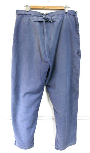 Image of 1910'S FRENCH BLUE MOLESKIN PANTS FADED & PATCHED 2