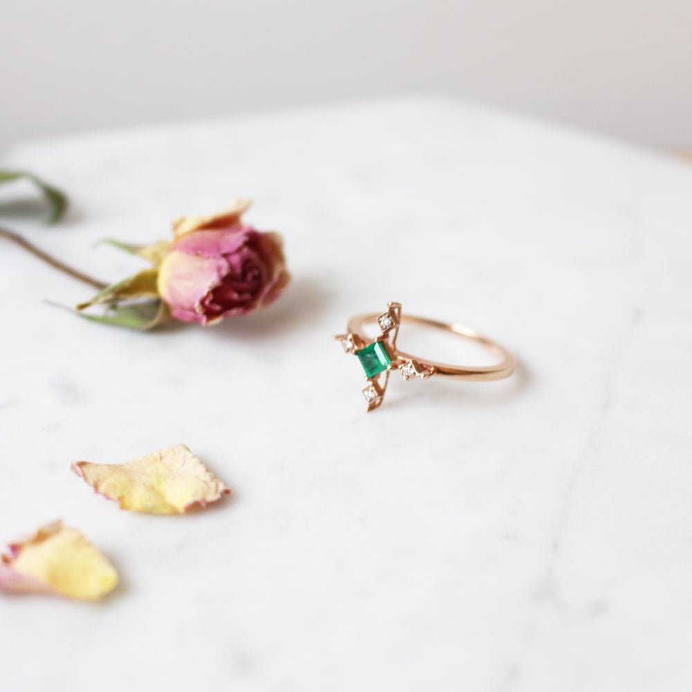 Image of Emerald Pink Cross Ring