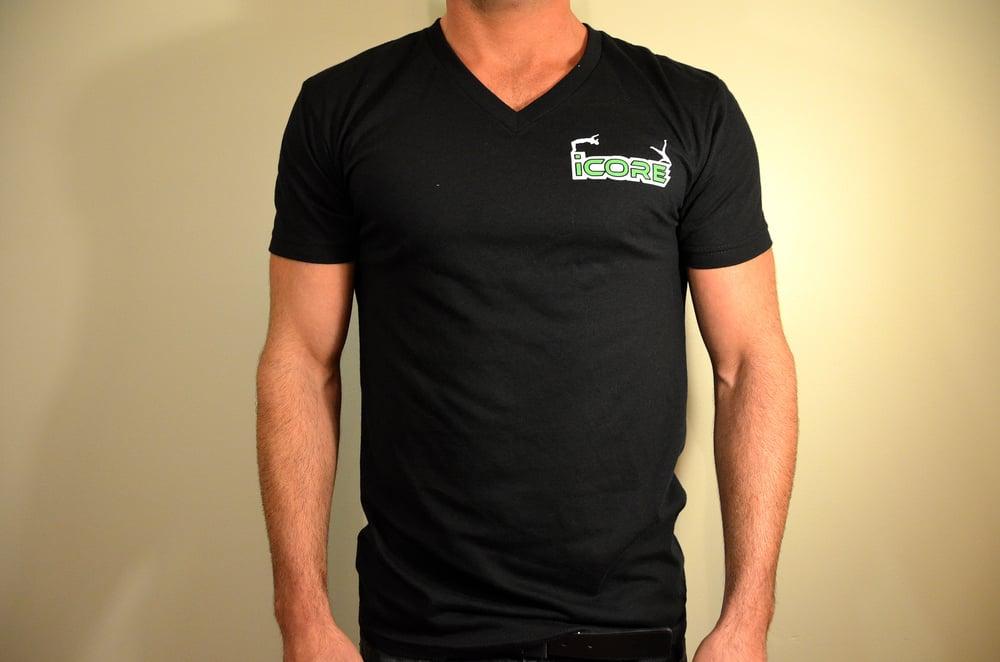 Image of Black Fitted V-neck T-Shirt
