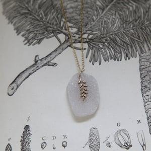 Image of fern leaf & druse quartz necklace