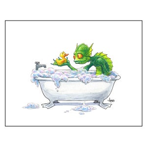 """Image of """"Bathtime for Gil"""" Gillman Print"""