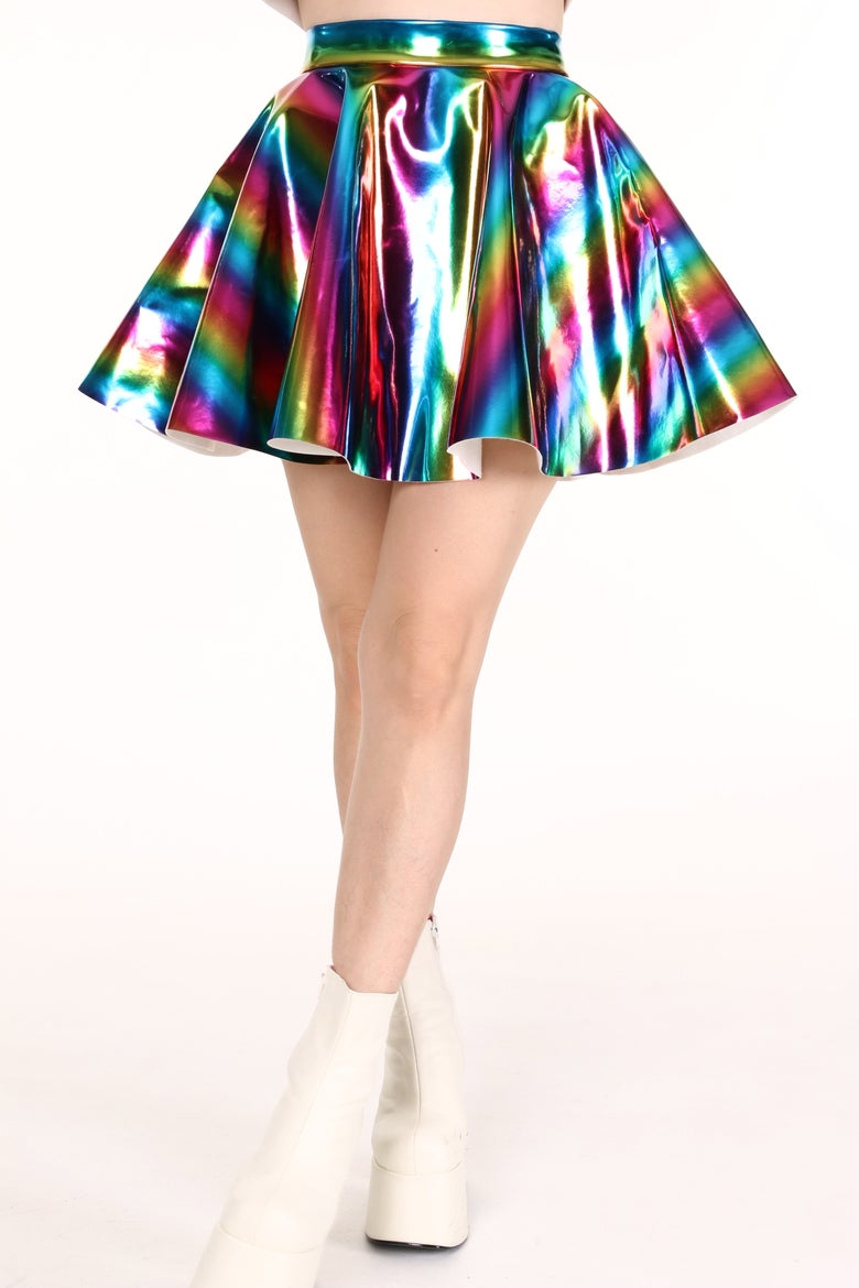 Image of Made To Order - Rainbow Hologram Circle Skirt