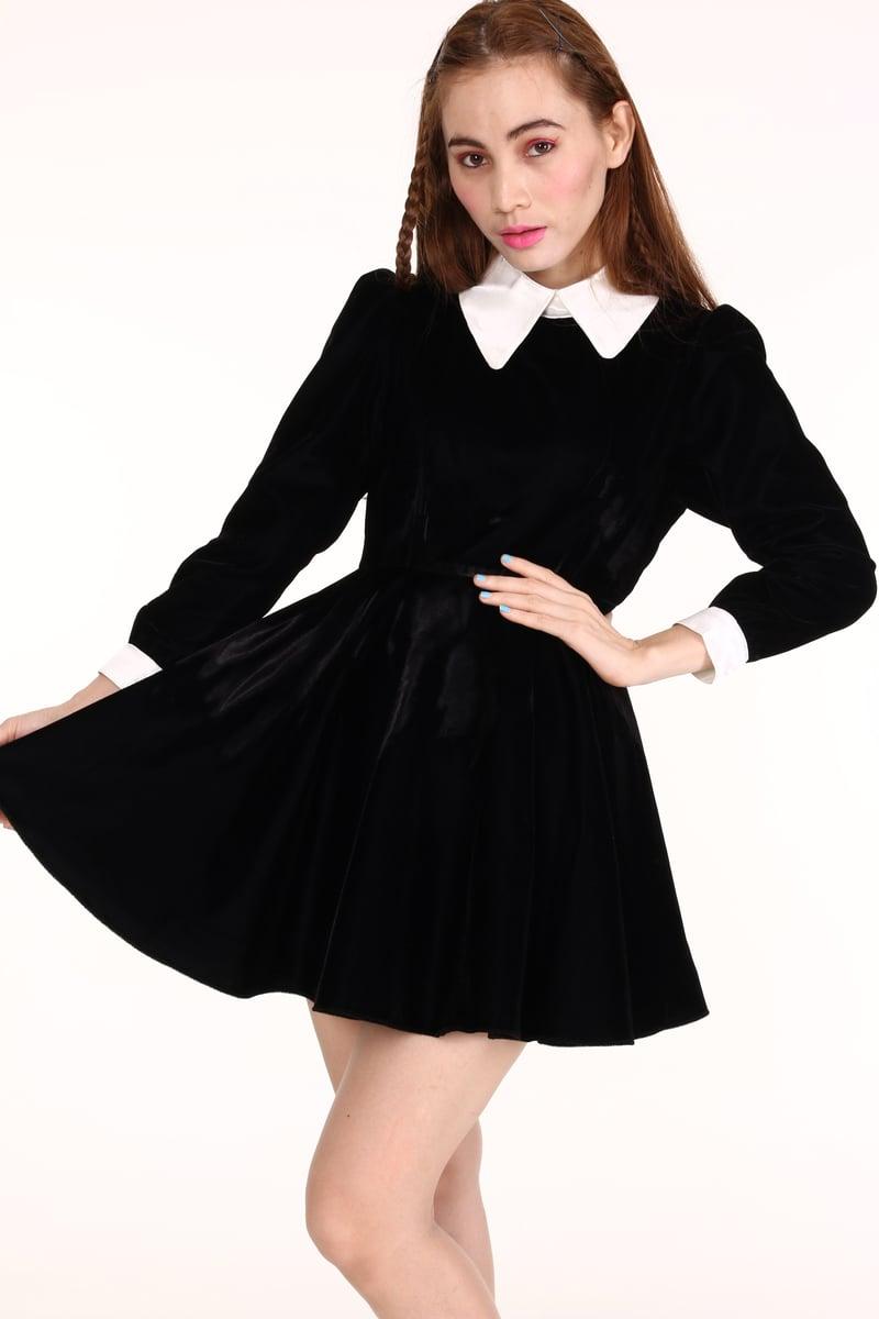Made To Order Wednesday Velvet Long Sleeved Dress